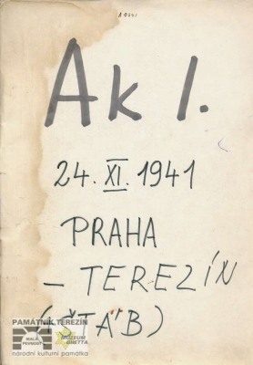 Transport list from Prague to Terezín, 1941