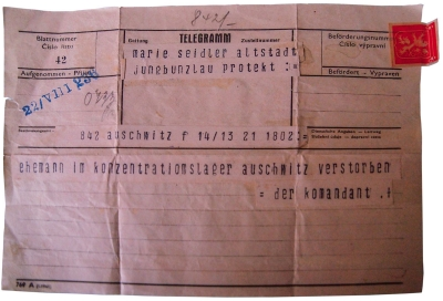 A telegram announcing the death of Otto's father