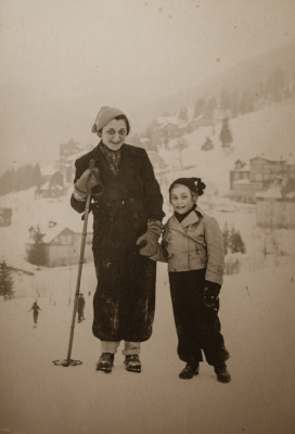 With mother in winter