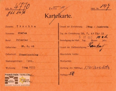 Identifi cation card for the prisoner – Small Fortress Terezín