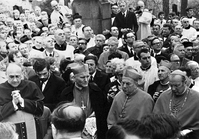 Archbishop of Cracow Karol Wojtyla (in centre) on Trochta's funeral
