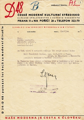 Burian's letter to Terezín of Oct. 13, 1947